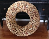 """Large Repurposed Wine Cork Wreath Wall Door Hanging 24"""""""