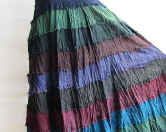 S3, Wavy Hippie Colorful Blue Cotton Skirt