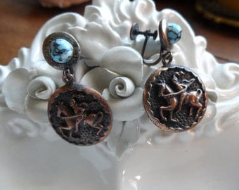 Copper and Turquoise Earrings, Screw Backs