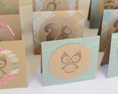 Woodland Creatures Mini Cards, Kraft Cards with Owl, Bird, Squirrel, Rustic Card Set