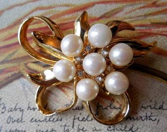 Gold Bow Brooch w/ Pearls & Rhinestones