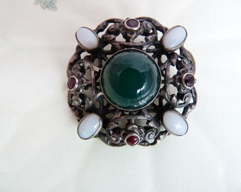 Antique Austro Hungarian Sterling Silver Gems Brooch with Opals Garnets Green Onyx