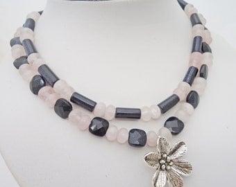Rose Quartz and Blue Gold Sand Necklace, Duble Strand Neklace with Pendant, Gemstone Necklace, UK Seller