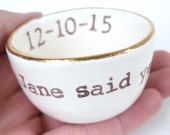 GOLD luster RING DISH customized personalized date name initials wedding gift idea engagement gift wedding ring pillow ring holder