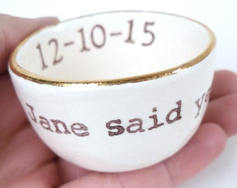 HANDMADE engagement gift customized gold silver rim ring holder with personalized name and date/ ring dish for bridal shower gift for wife