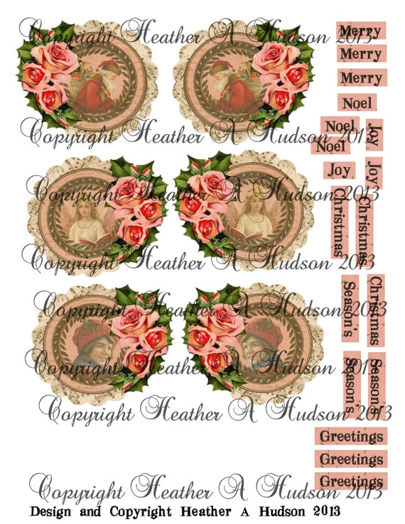 Vintage Shabby Chic Pink Roses Christmas Countdown Advent Calendar Focal  tags Ornaments  Digital Collage sheet Printable