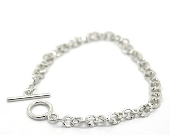 1 or 5 or 10pcs. Silver Tone Chain Link Bracelet with Toggle Clasp - 8 5/8 in (22 cm)
