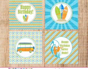 Surf Theme Cupcake Toppers for a Birthday Boy- Surfboard, Wave, Surfer, Digital File Only