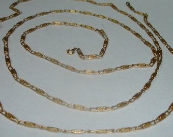 Vintage Gold Plated Textured Links Extra Long Necklace Chain w Spring Ring Clasp 4 Repurpose or Creation