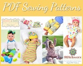 Baby Clothes Sewing Pattern Bundle, Set of 4 Infant Clothes Patterns, Preemie-12M, Sew Baby Gifts, Sew Infant Layette, PDF Sewing Patterns
