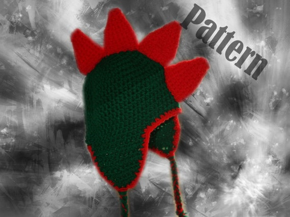 INSTANT DOWNLOAD Dinosaur Monster Spike Earflap Hat Pattern Baby to Adult