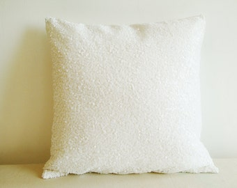 White Sequin Pillow Cover , Holiday Decor , Throw Pillow , Decorative Pillow
