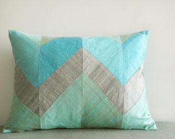 Turquoise & Silver Chevron Pillow in Dupioni Silk , Decor Pillow , Throw Pillow , Aqua Lumbar Pillow
