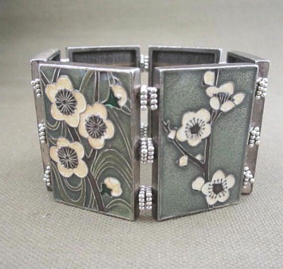Wide Enameled Stretch Cuff Floral Bracelet, Panel Flower Cuff
