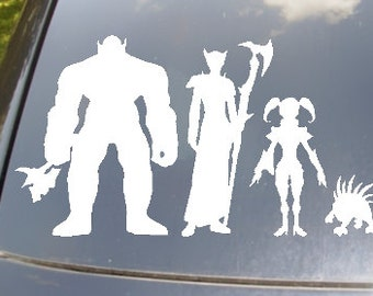 WoW Family Car Sticker set of 4