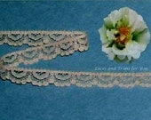 Beige Lace Trim 15 Yards Vintage Scalloped 3/8 inch wide R133 Added Items Ship No Charge