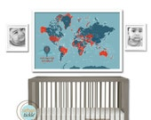 World Map Poster, Country Names, 24X36, Other sizes, Travel Artwork, Travel gift, Farewell, Gift for home, Map for kids