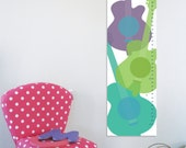 "Growth Chart for kids, Guitars, 13"" X42"" Inches, Gift for kids, Newborn Gift, Music lover, Height chart, Birthday gift for boy and girl"