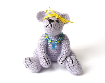 Crochet Teddy Bear Jointed Posable Lilac Purple Collectible Thread Ted Beaded Necklace