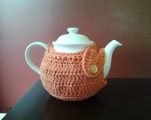 Modern TEA COZY in crochet cotton- tangerine