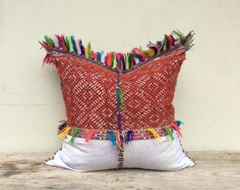 """Vintage Ethnic Pwo Karen Textile Decorative Throw 22"""" x 22"""" Pillow Case Unique Tribal Design Hand Loom"""
