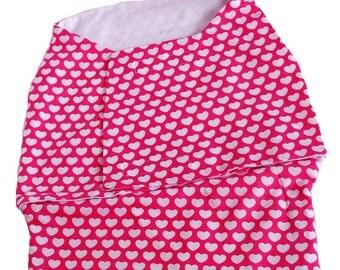 Eco Friendly cotton baby Swaddle Wrap - Love in pink hearts - Baby girl sleepsacks, Receiving Blanket