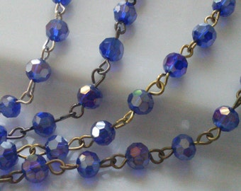 36 Inches Glass Beaded Rosary, 6 mm Faceted Round  AB Cobalt Blue , Jewelry Making Supply, gold, gunmetal, silver or brass Chain