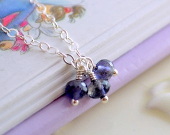 Water Sapphire Necklace, Genuine Iolite Jewelry, Gemstone Trio, September Birthstone, Adjustable Length, Wire Wrapped, Sterling Silver