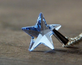 Blue Star Necklace - Sterling Silver Crystal Star Necklace - Glitter Star Necklace - Shimmer Sparkle Glitter Jewelry