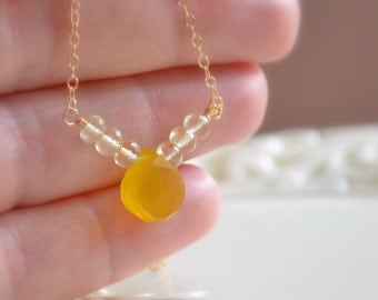 Bright Yellow Necklace, Chalcedony Gemstone, Lemon Quartz, Wire Wrapped, Gold, Summer Jewelry, Free Shipping