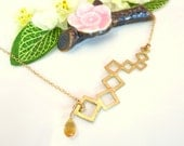 Gold squares bar citrine necklace, abstract modern square necklace, abstract citrine gold square bar necklace