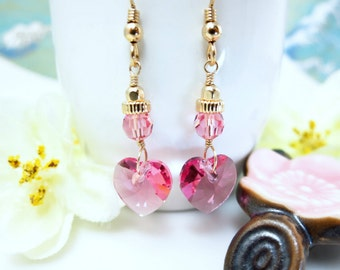 Pink heart Swarovski crystal Valentines Day dangle earrings, Pink Valentines love heart dangle earrings, Mother's Day Pink Heart Earrings
