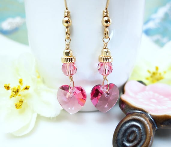 Pink heart Swarovski crystal Valentines Day dangle earrings
