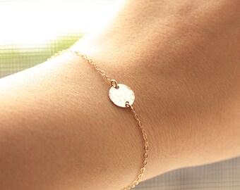 Gold Charm Bracelet, Tiny Hammered Disc Braccelet - Dainty Bracelet,14k Gold Filled Bracelet, Minimal Bracelet, Simple Everyday Bracelet
