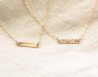 Teeny Tiny Gold Bar Necklace, Hammered Gold Bar Necklace, Dainty Gold Filled Necklace, Horizontal Bar Necklace, Delicate Layering Necklace