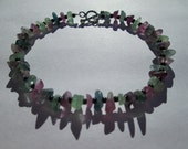 Rainbow fluorite chips bracelet-sterling silver toggle