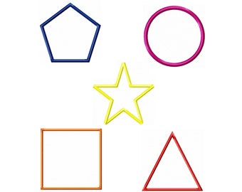 Shapes Circle Square Triangle Polygone Star Machine Applique Design Set - 1 in 2 in 3 in 4 in 5 in INSTANT DOWNLOAD