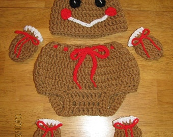 Gingerbread girl hat, pant, mitts & socks set crochet newborn size photo prop / costume