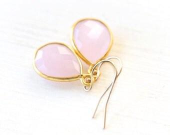 Romantic Pink Teardrop Earrings - on 14K gold filled hooks - simple delicate dainty everyday jewelry
