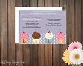 Baby Shower Invitation - Cupcakes and Polka Dots