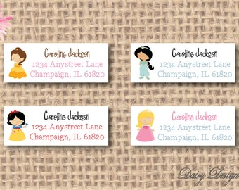 Return Address Labels with Four Princesses - 120 self-sticking labels