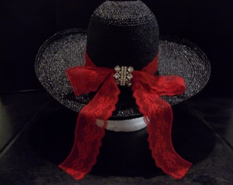 Black Cowgirl Hat with Red Lace Ribbon and Rhinestones