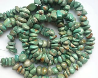 Natural turquoise   nugget beads  (9-12x3-8mm), natural green turquoise, big chips