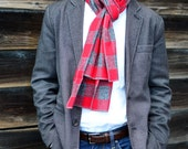 Men's Flannel Scarf in Red and Gray Buffalo Check- cotton scarf mens womens accessories outerwear plaid