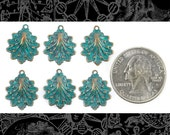 Art Deco Shell Charms, Copper Plated Brass with Aqua Tint  Set of Six * V-C87