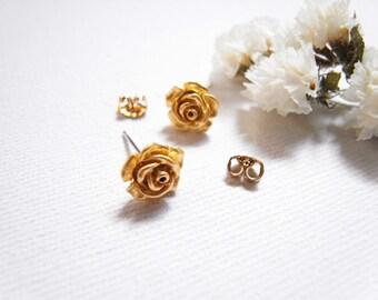 English Rose Studs Earrings / Mini Rose Post Earrings / Little Prince's Rose.