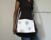 Reserved for -Susan Brailsford  Messenger Bag with Gray Dandelion Print