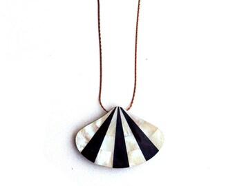 SALE Horn & Shell Art Deco Fan Necklace