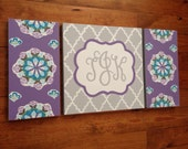 large colorful nursery art - personalized- hand painted- Inspired by Brooklyn bedding- purple Aqua paisley