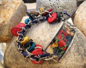 Flowers In Bloom Gunmetal Wood and Leather Vintage Style Bracelet